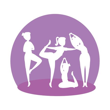 silhouette of girls group practicing pilates vector illustration design Stock Illustratie
