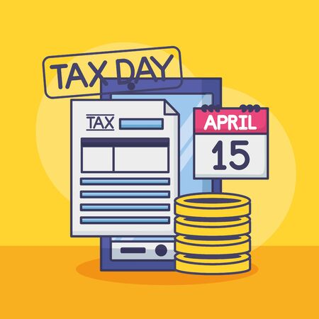 cellphone calendar money form tax payment vector illustration
