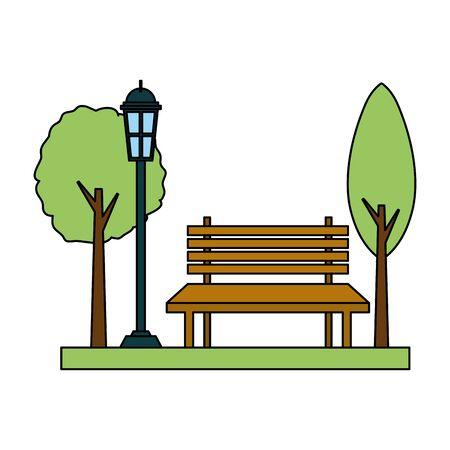 park bench lamp post light vector illustration design Illustration