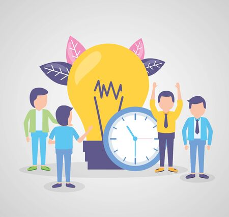 business people time clock bulb creativity vector illustration