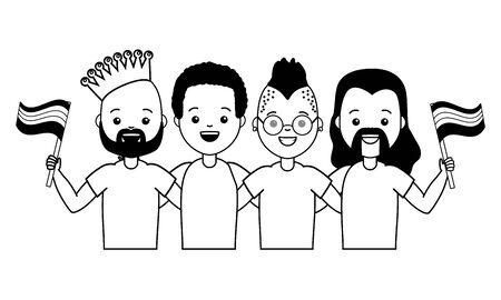 Grupo de hombres con bandera orgullo ilustración vectorial