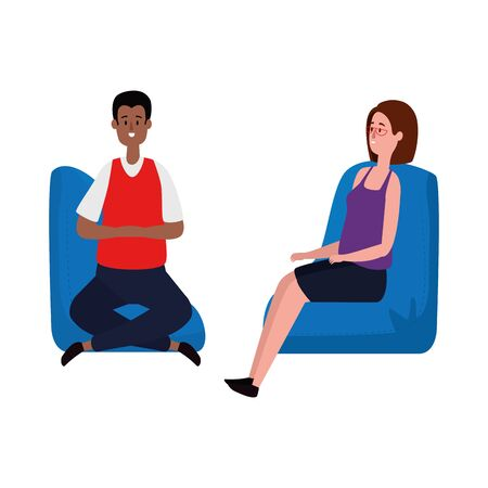 elegant business couple workers in the sofa vector illustration design Ilustracja