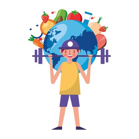 man and barbell fruit vegetable world health day vector illustration