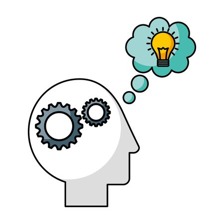head brain gears thinking creativity idea vector illustration