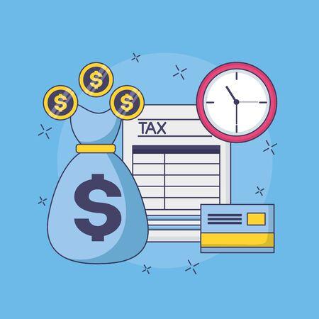 tax payment document money bag bank card clock vector illustration Foto de archivo - 129165318