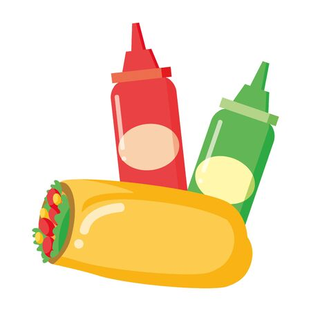 taco and sauces fast food white background vector illustration Stockfoto - 129165324