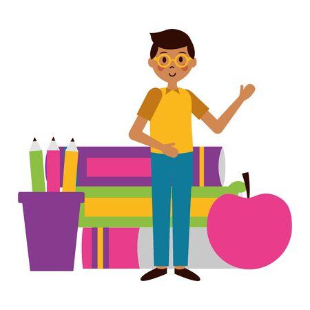 school boy books apple pencils teachers day card vector illustration