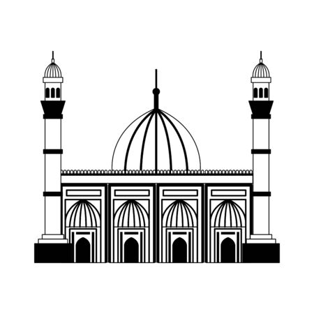 badshahi mosque building palace icon vector illustration design