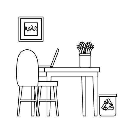 office work place scene with laptop vector illustration design 일러스트