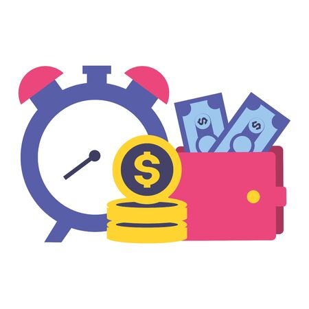 clock wallet money tax time payment vector illustration