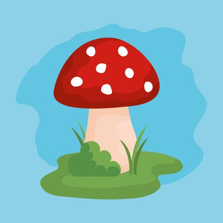 nature fungus with bush plant and grass over blue background, vector illustration Archivio Fotografico - 129231999