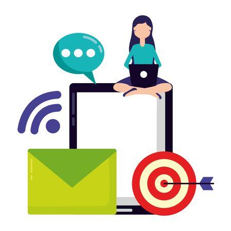 woman laptop email target internet social media vector illustration Foto de archivo - 129169896