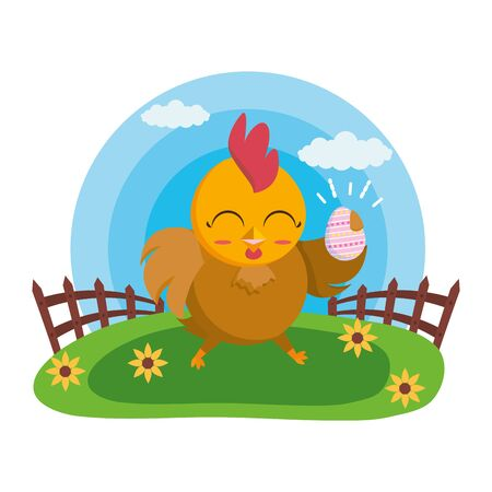 happy easter hen with egg in the grass vector illustration Stock Illustratie