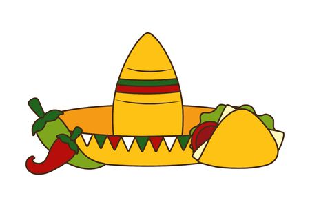 hat taco jalapeno mexico cinco de mayo vector illustration Stockfoto - 129169900