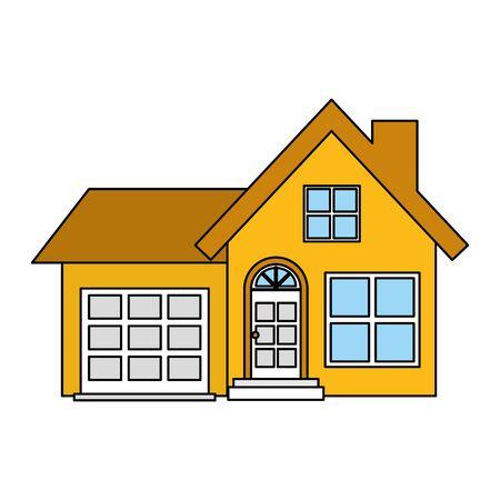 Extérieur de façade de maison sur fond blanc conception d'illustration vectorielle Vecteurs