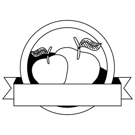 fresh apples fruits with ribbon seal vector illustration design Ilustrace