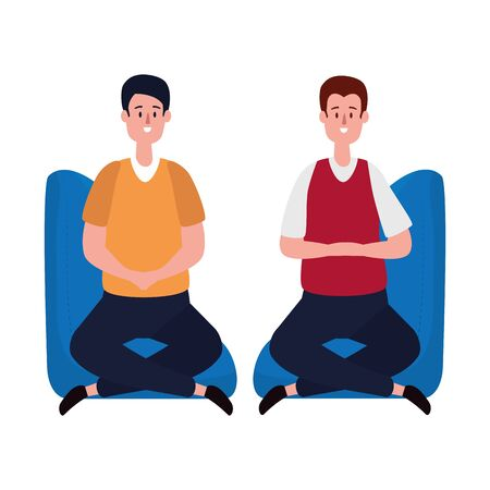 elegant businessmen workers in the sofa vector illustration design