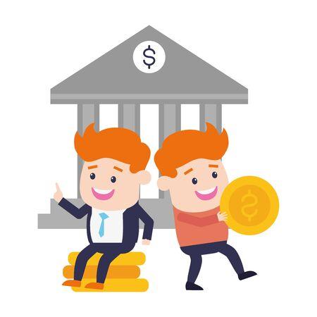 businessmen bank money online banking vector illustration Illustration