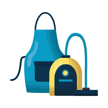 vacuum apron spring cleaning tools vector illustration