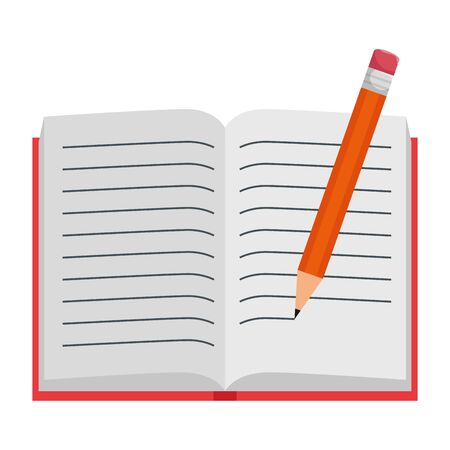 text book open with pencil writing vector illustration design