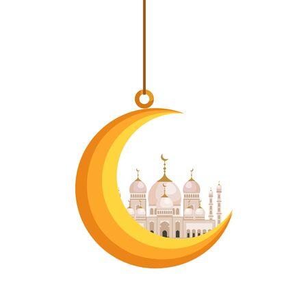 moon hanging with taj mahal mosque building vector illustration design