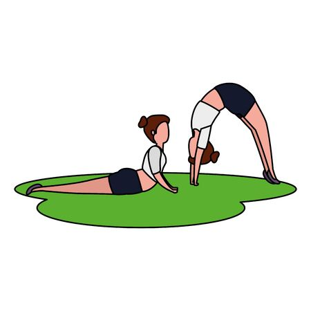 beauty girls couple practicing pilates in grass vector illustration design Stock Illustratie