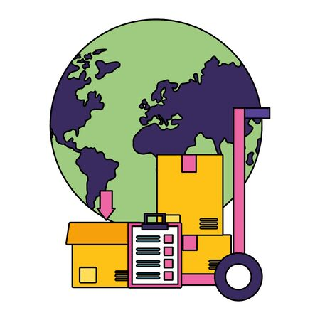 world cardboard boxes clipboard handcart fast delivery vector illustration Illustration