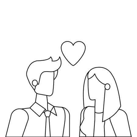 business couple with heart love vector illustration design