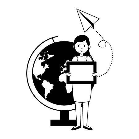 woman blackboard globe paper plane teachers day card vector illustration