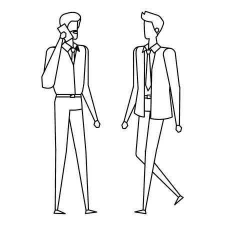 elegant young businessmen using smartphone vector illustration design