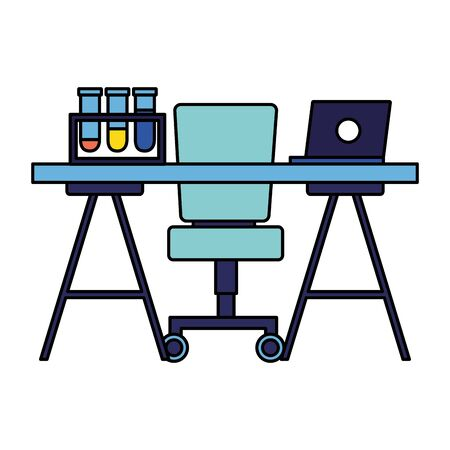 office desk chair laptop flask laboratory chemical vector illustration