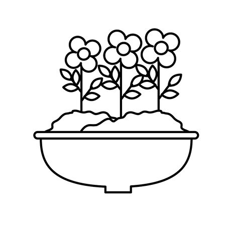 flowers houseplant in pot natural icon vector illustration design