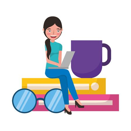 woman with laptop sitting on books with eyeglasses coffee cup vector illustration Ilustracja