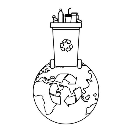 world planet with recycle waste and plastic products vector illustration design Standard-Bild - 129173407