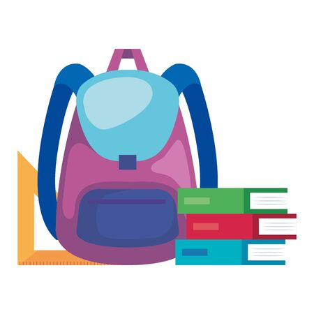 school bag supply with books and rule vector illustration design