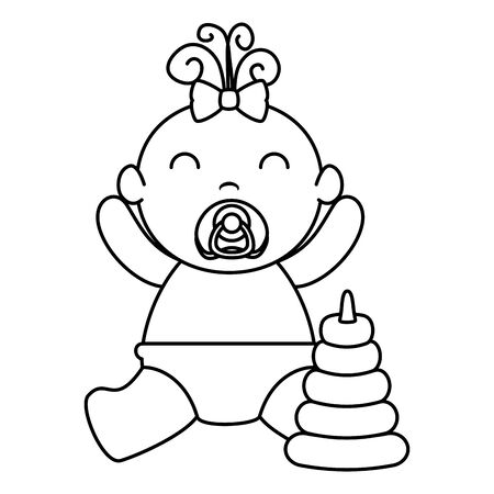 cute little baby girl with pile rings vector illustration design