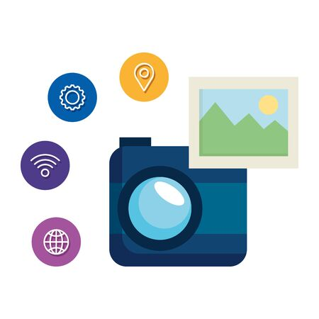 camera photographic with social media menu vector illustration design