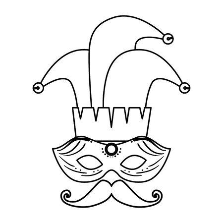 carnival mask with joker hat and mustache vector illustration design