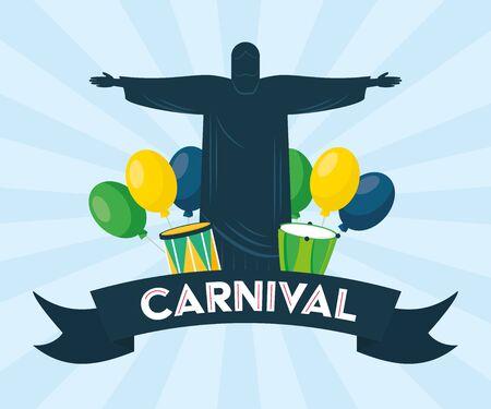 statue of christ redeemer balloons drums brazil carnival festival vector illustration vector illustration Illustration
