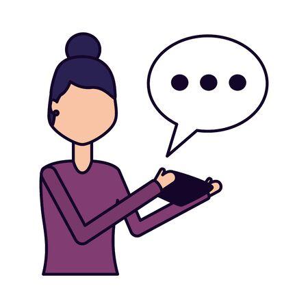 woman using mobile chatting social media vector illustration Archivio Fotografico - 129174034