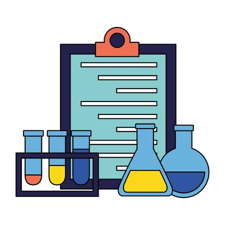 medical flasks clipboard chemistry clinic vector illustration