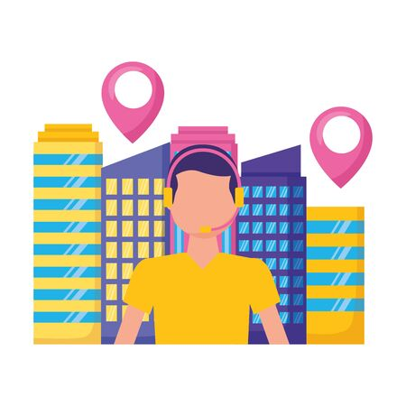 operator man city location logistic fast delivery vector illustration Иллюстрация