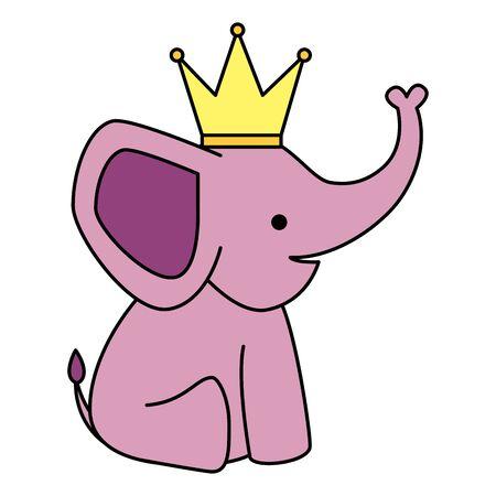 Mignon petit éléphant avec la conception d'illustration vectorielle de caractère couronne