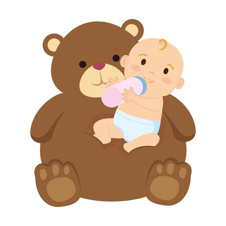 cute little baby girl with milk bottle and bear teddy vector illustration design