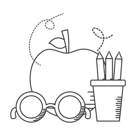 apple pencils eyeglasses school supplies vector illustration design