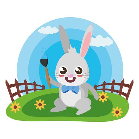 cute rabbit with paint brush in the meadow vector illustration Stock Illustratie