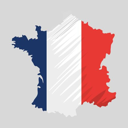 map with french flag colors country vector illustration design