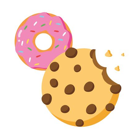 cookie donut fast food white background vector illustration