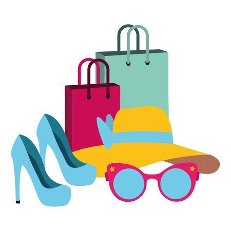 pop art high heel shoes hat eyeglasses shopping bags vector illustration Stock Vector - 129187677