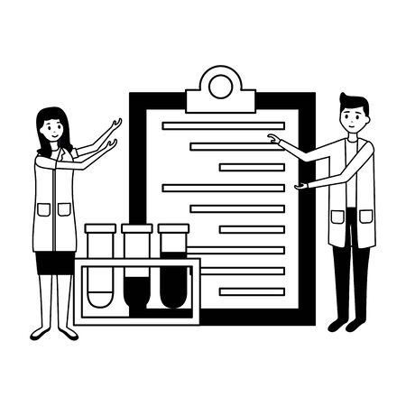 medical people staff clipboard and chemical flasksvector illustration